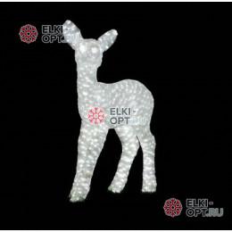 Световая Акриловая Фигура 3D Олень малыш цвет Белый 67см