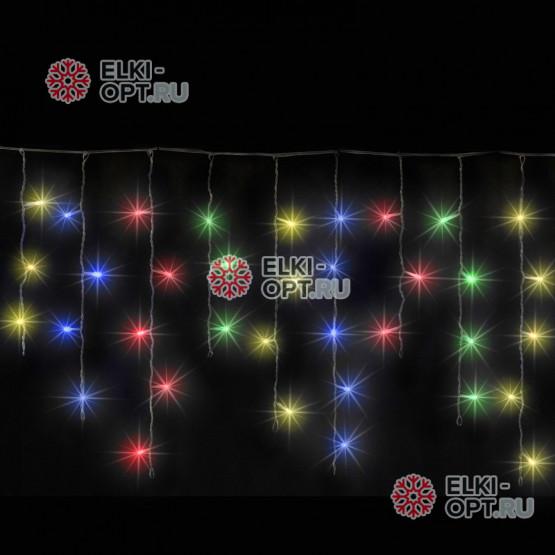 Светодиодная бахрома 3х0,5м цвет мульти, провод чёрный, IP54, постоянное свечение