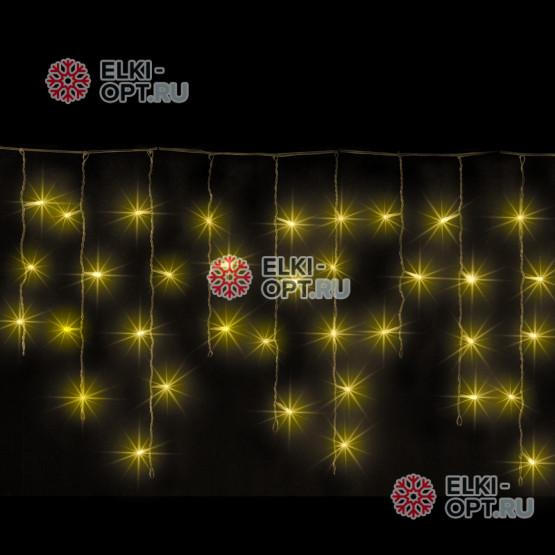 Светодиодная бахрома 3х0,5м цвет желтый, провод черный, IP54, постоянное свечение