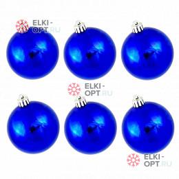 Шары пластиковые d-6см цвет синий глянец (6шт/уп)