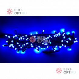 Светодиодная гирлянда цвет синий 10м постоянного свечения провод черный, IP65