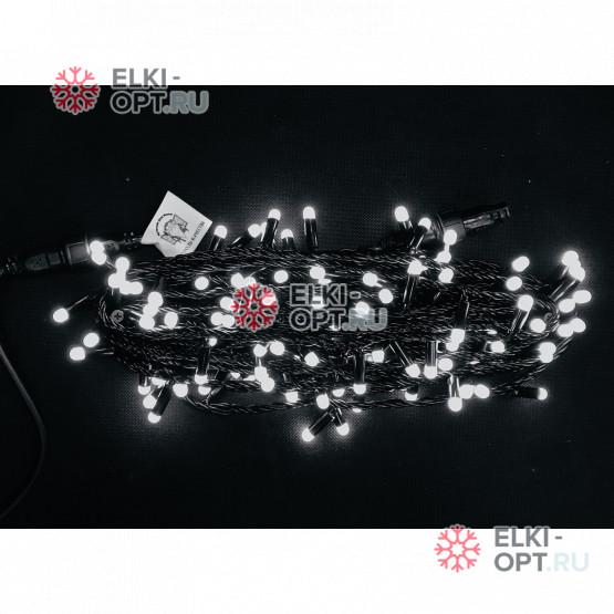 Светодиодная гирлянда цвет белый 10м постоянного свечения провод черный, IP65 (10шт *1275р)