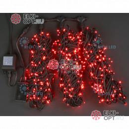 Светодиодная гирлянда Rich LED 3 нити по 20 м с контр., красная