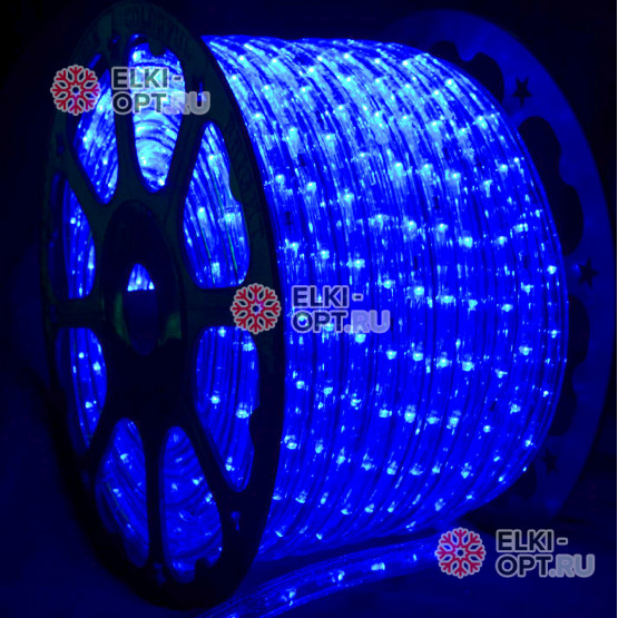 Дюралайт цвет синий d-13мм 100м, постоянное свечение (фиксинг), 220V