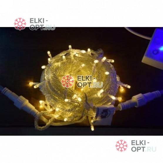 Светодиодная гирлянда 10м цвет теплый белый, провод прозрачный, IP54
