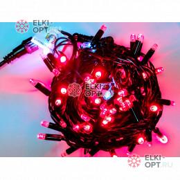 Светодиодная гирлянда мерцающая с герметичным колпачком цвет красный 10м провод каучук черный IP65 100LED