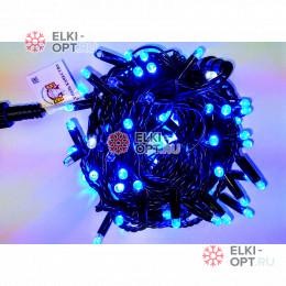 Светодиодная гирлянда мерцающая с герметичным колпачком цвет синий 10м провод каучук черный IP65 100LED