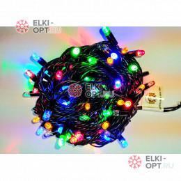 Светодиодная гирлянда мерцающая с герметичным колпачком цвет мульти 10м провод каучук черный IP65 100LED