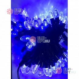 Светодиодная гирлянда Шишки цвет бело-синий 10м провод черный IP54, 220V