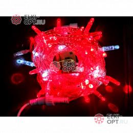 Светодиодная гирлянда мерцающая с герметичным колпачком цвет красный 10м провод прозрачный IP65 100LED