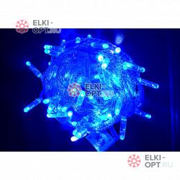 Светодиодная гирлянда мерцающая с герметичным колпачком цвет синий 10м провод прозрачный IP65 100LED
