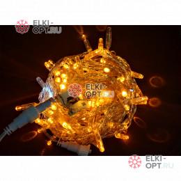 Светодиодная гирлянда мерцающая с герметичным колпачком цвет желтый 10м провод прозрачный IP65 100LED