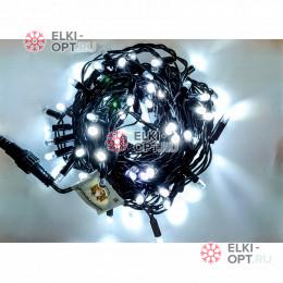 Светодиодная гирлянда мерцающая с герметичным колпачком цвет белый 10м провод каучук черный IP65 100LED