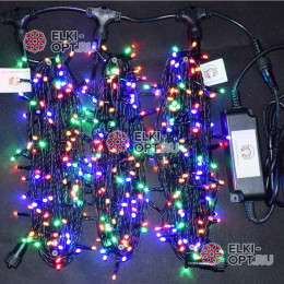 Светодиодная гирлянда Клип Лайт 3 нити по 20м цвет мульти постоянное свечение провод черный IP54 24V