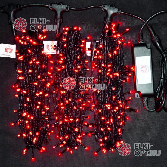 Светодиодная гирлянда Клип Лайт 3 нити по 20м цвет красный постоянное свечение провод черный IP54 24V
