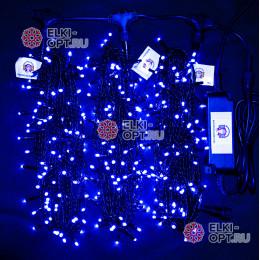 Светодиодная гирлянда Клип Лайт 3 нити по 20м цвет синий постоянное свечение провод черный IP54 24V