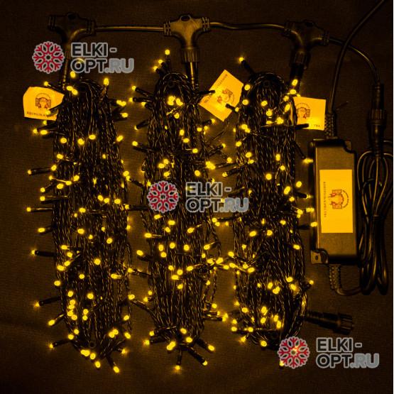 Светодиодная гирлянда Клип Лайт 3 нити по 20м цвет желтый постоянное свечение провод черный IP54 24V