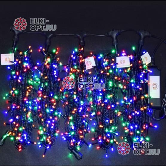 Светодиодная гирлянда Клип Лайт 5 нитей по 20м цвет мульти постоянное свечение провод черный IP54 24V