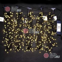 Светодиодная гирлянда Клип Лайт 5 нитей по 20м цвет теплый белый постоянное свечение провод черный IP54 24V