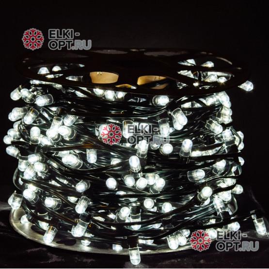 Светодиодная гирлянда Клип Лайт 12V цвет белый 100м шаг 30см 333 LED провод зеленый