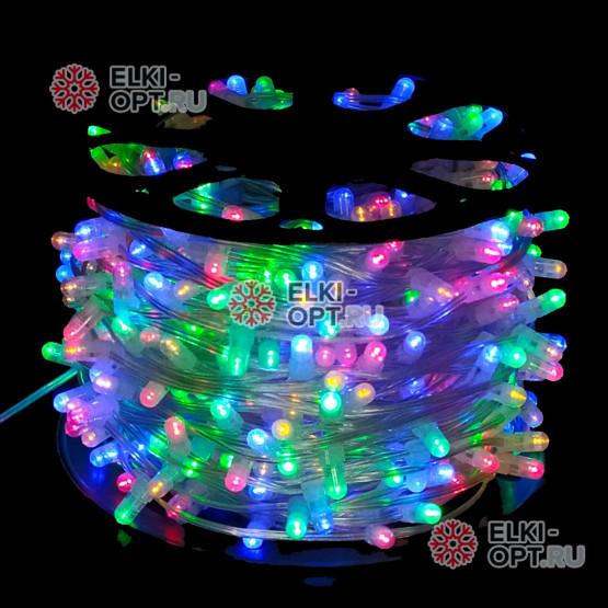 Светодиодная гирлянда Клип Лайт 12V цвет мульти 100м шаг 15см 666 LED провод прозрачный IP65