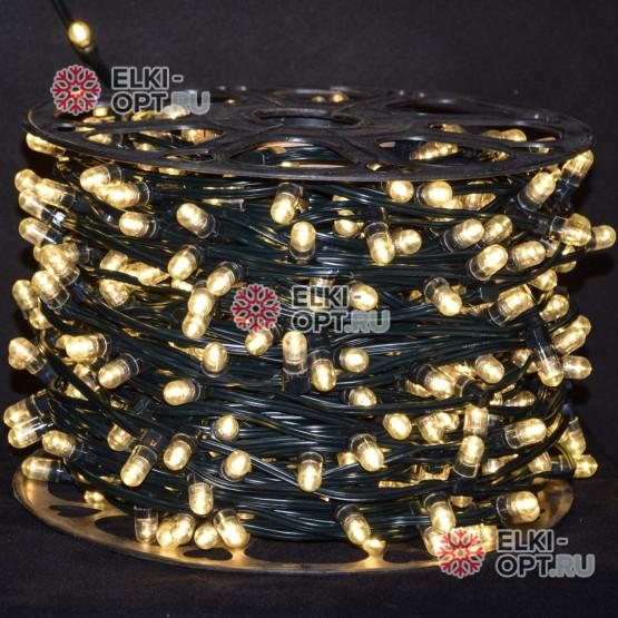 Светодиодная гирлянда Клип Лайт 12V цвет теплый белый 100м шаг 15 см 666 LED провод зеленый