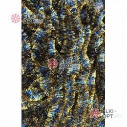 Мишура новогодняя Московская d-5см цвет синий с золотыми концами длина 2м (упак. 10шт)