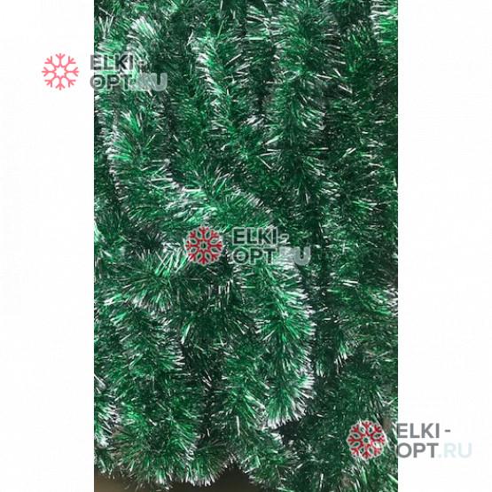 Мишура Московская d-5см цвет зеленый+серебро длина 2м 100шт х 38руб