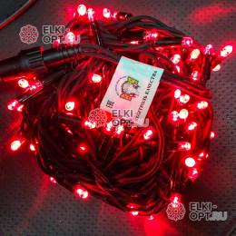 Светодиодная гирлянда цвет красный 24V 10м герметичный колпачок, провод каучук IP65, постоянное свечение