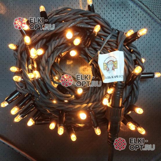 Светодиодная гирлянда цвет теплый белый 24V 10м герметичный колпачок, провод каучук IP65, постоянное свечение