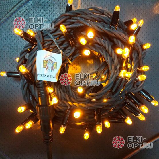 Светодиодная гирлянда цвет желтый 24V 10м герметичный колпачок, провод каучук IP65, постоянное свечение