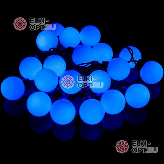 Светодиодная гирлянда Супер шар d-4см цвет синий 5м постоянное свечение провод черный, IP44