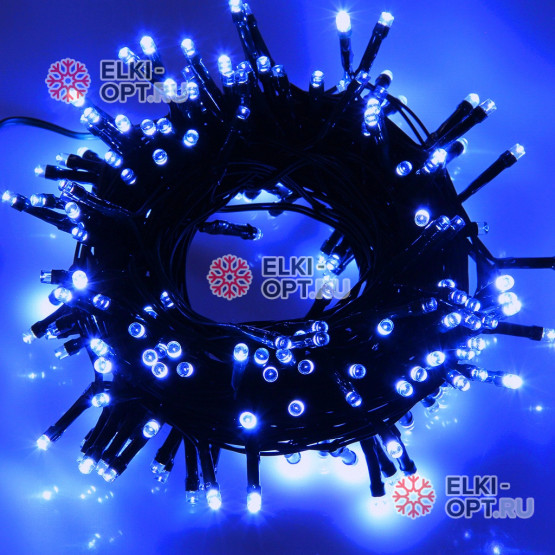 Светодиодная гирлянда цвет синий 10м IP44, провод черный, 220V