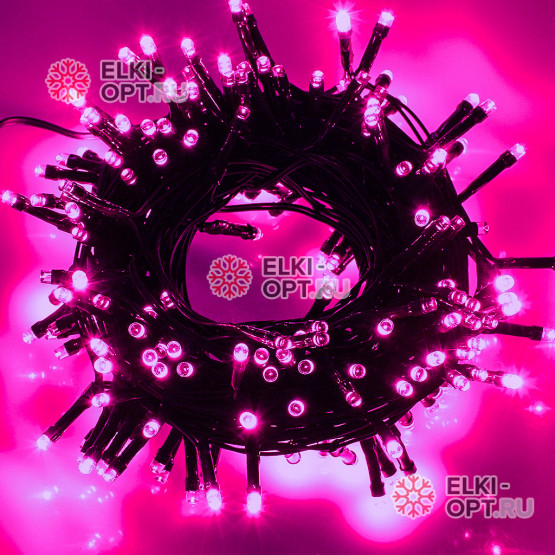 Светодиодная гирлянда цвет розовый 24V 10м IP44  постоянное свечение провод черный
