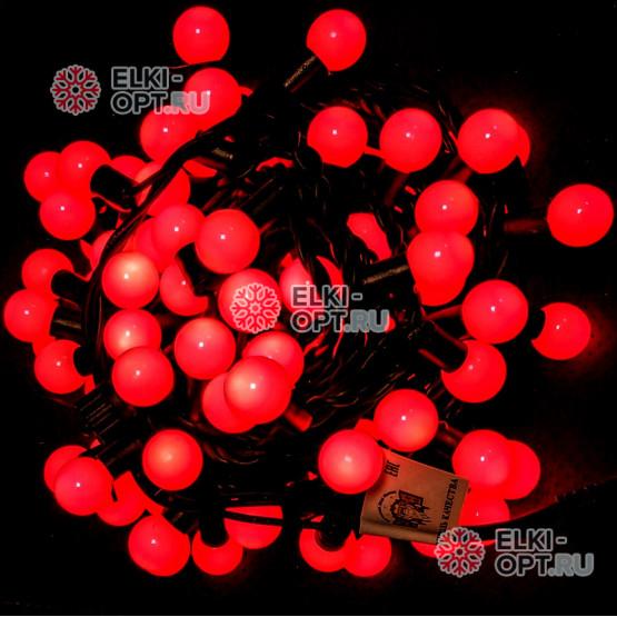 Светодиодная гирлянда Мультишарики d-2,3см цвет красный 10м 100LED, провод черный, IP65