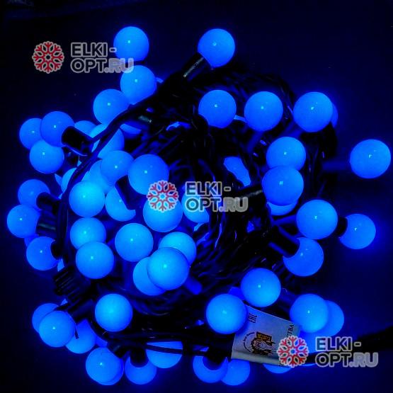 Светодиодная гирлянда Мультишарики d-2,3см цвет синий 10м 100LED, провод черный, IP65