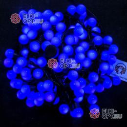 Светодиодная гирлянда Мультишарики d-1,8см цвет синий 10м 100LED, провод черный, IP65