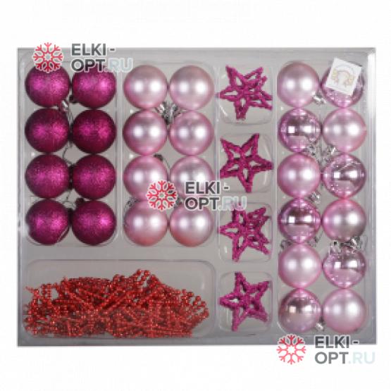 Набор для украшения шары + звезды (37 предметов) цвет розовый 20 х 280р