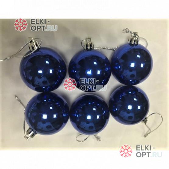 Шары пластиковые d-5см цвет синий глянец (6шт/уп)  200уп х 68руб
