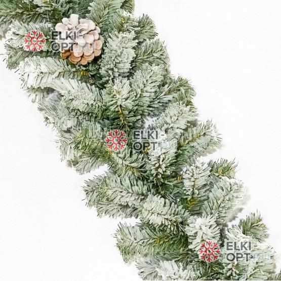 Еловая гирлянда заснеженная с шишками d-20см  длина 2,7м цвет зеленый, Премиум