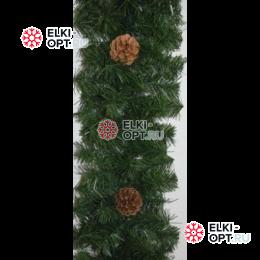 Еловая гирлянда цвет зеленый с шишками d-25см длина 2,7м
