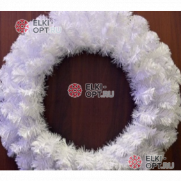 Венок новогодний 50см цвет белый