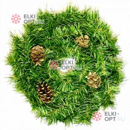 Венок новогодний 35см с шишками цвет зеленый