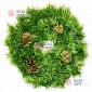 Венок новогодний d-35см-50см с шишками цвет зеленый