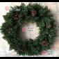 Венок новогодний 50см с шишками цвет зеленый