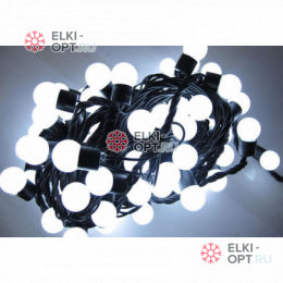 Светодиодная гирлянда Мультишарики 10м d-1,8см цвет белый постоянное свечение IP65