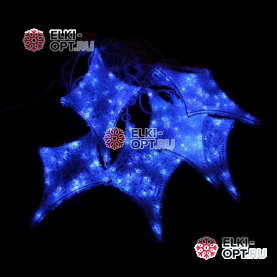 Комплект из акриловых звезд цвет бело-синий 6шт ,с контроллером, провод белый, IP44