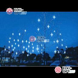 Светодиодная гирлянда Мерцающие звезды 12шт цвет бело-синий