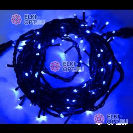 Светодиодная гирлянда 10м цвет синий, провод черный IP44