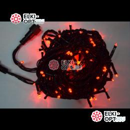 Светодиодная гирлянда 10м цвет красный, провод черный IP44